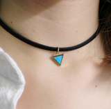 Triangle Charm Leather Choker - Eleven Gift