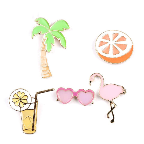 5 in 1 Tropical Brooch Set