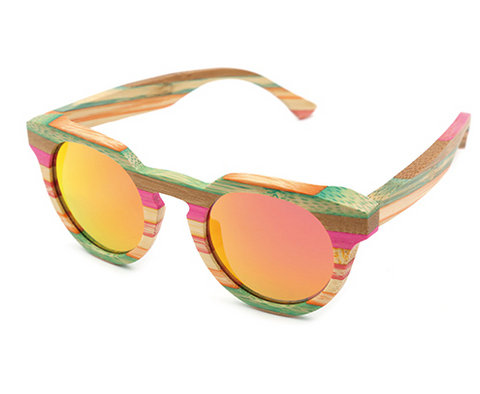 Venice - Rainbow Bamboo Sunglasses with Sunset Orange Polarized Lens - Eleven Gift