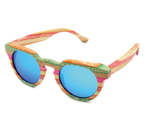 Venice - Light Bamboo Sunglasses with Sky Blue Polarized Lens