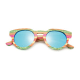 Venice - Light Bamboo Sunglasses with Oceon Green Polarized Lens