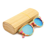 Venice - Rainbow Bamboo Sunglasses with Oceon Green Polarized Lens - Eleven Gift