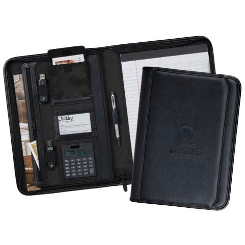 Berkshire Zippered Padfolio with Calculator - Forbes Custom Products