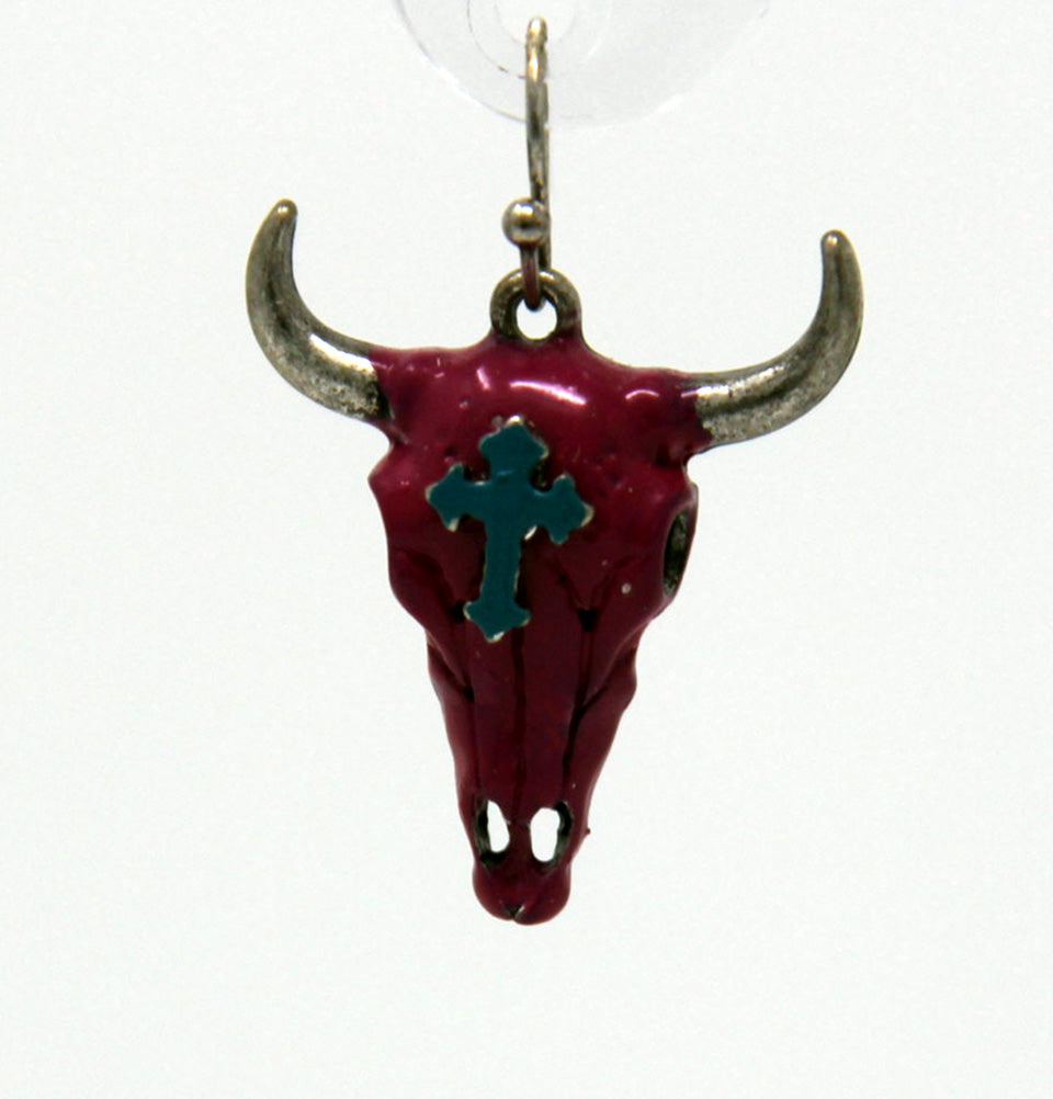 Hot Pink Cow Skull Earrings