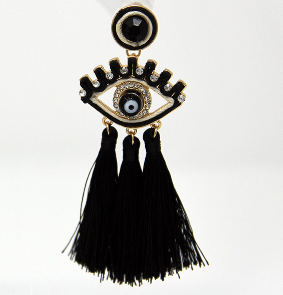 Evil Eyes Tasseled Dangling Earrings