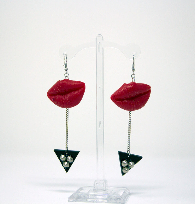 Red Lips Triangle Dangle Earrings
