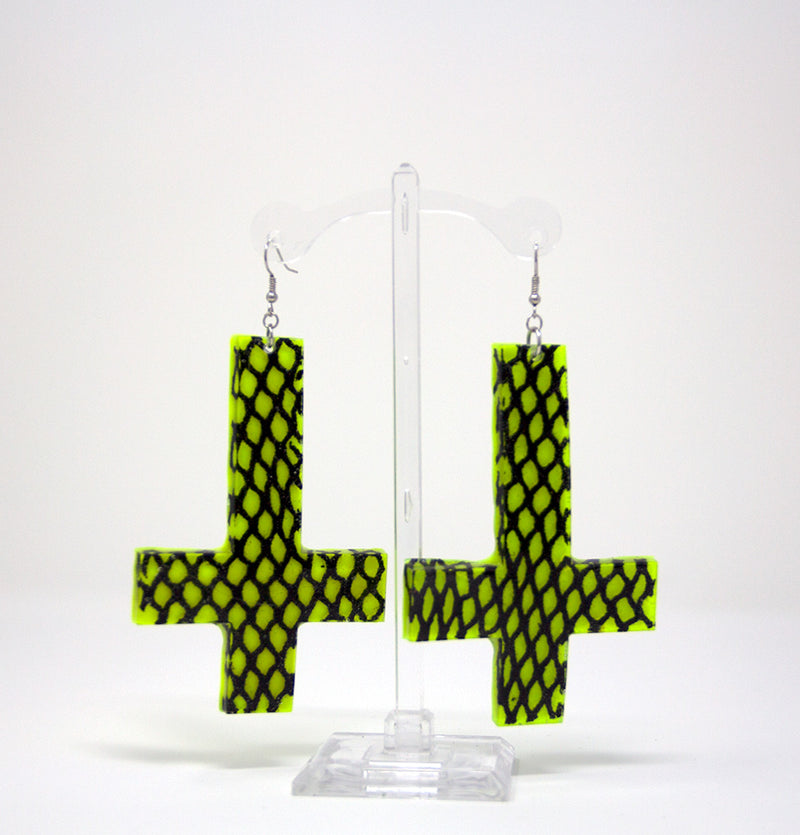 Neon Mesh Cross Earrings
