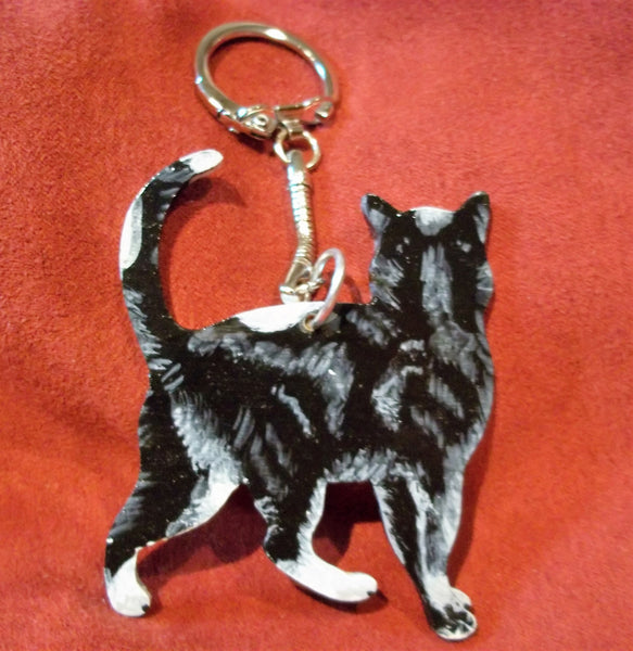 Black and white cat key chain