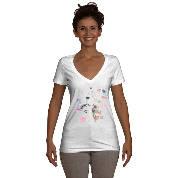 White Satin Hearts ladies Deep V-Neck