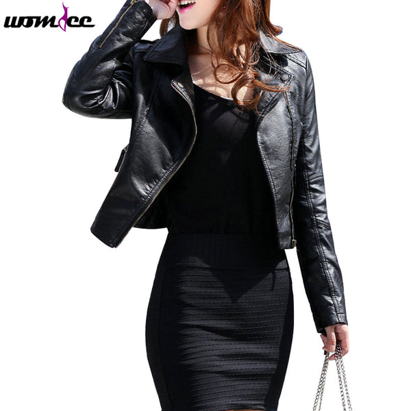 2017 New Spring PU Leather Coat Women
