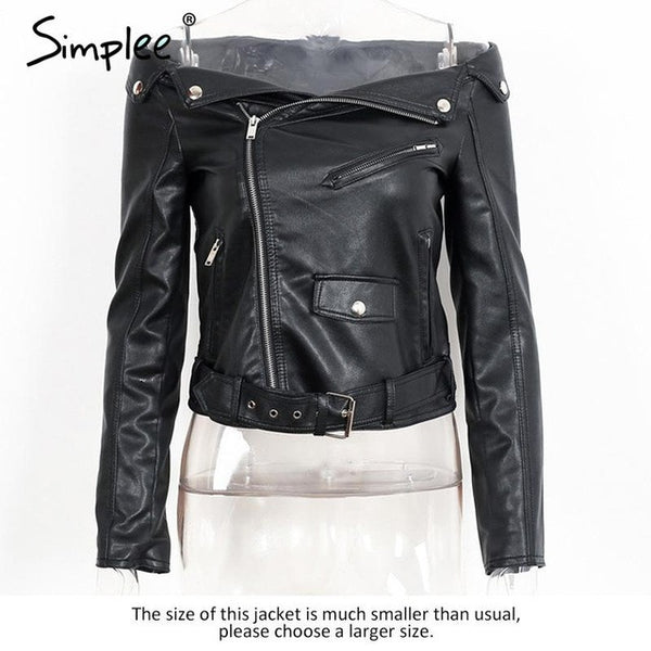 Simplee Off shoulder Women's Faux Leather Jacket