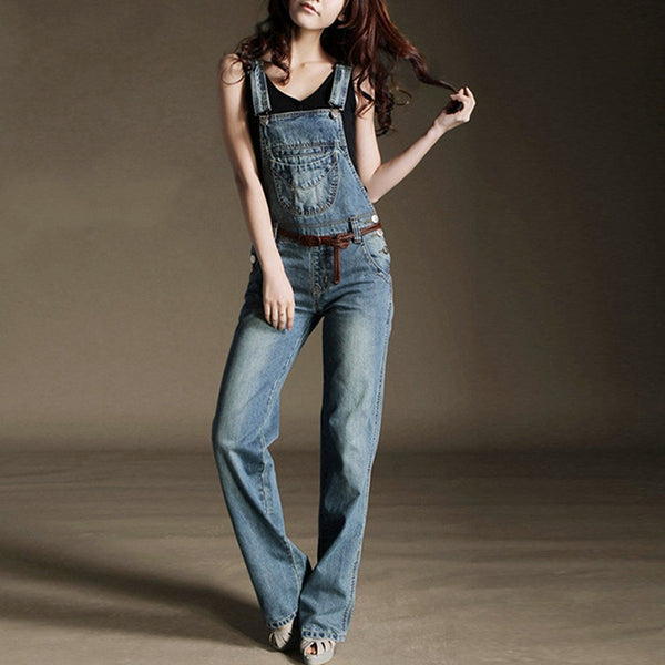 Denim Overalls Women Casual Mid Waist Suspender Trousers