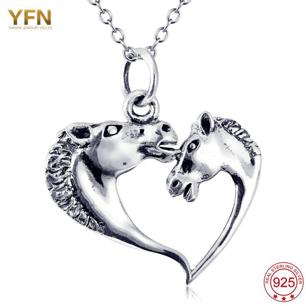 925 Sterling Silver Horse Heart Shape Necklace