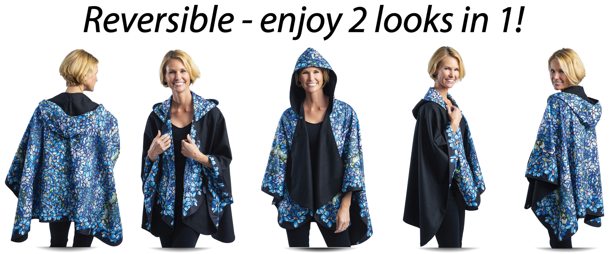 RainCaper is reversible for 2 looks in 1