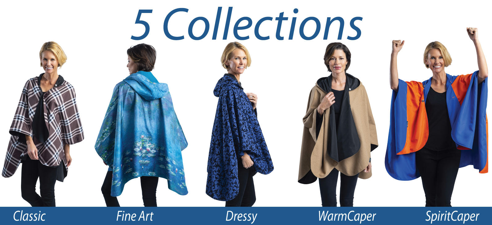 Image of five women wearing cute rain ponchos. One is a plaid cape, another is a blue raincoat, one is a camel rain jacket and one blue raincoat bears Monet Water Lilies artwork while another woman wears a dressy rain cape.