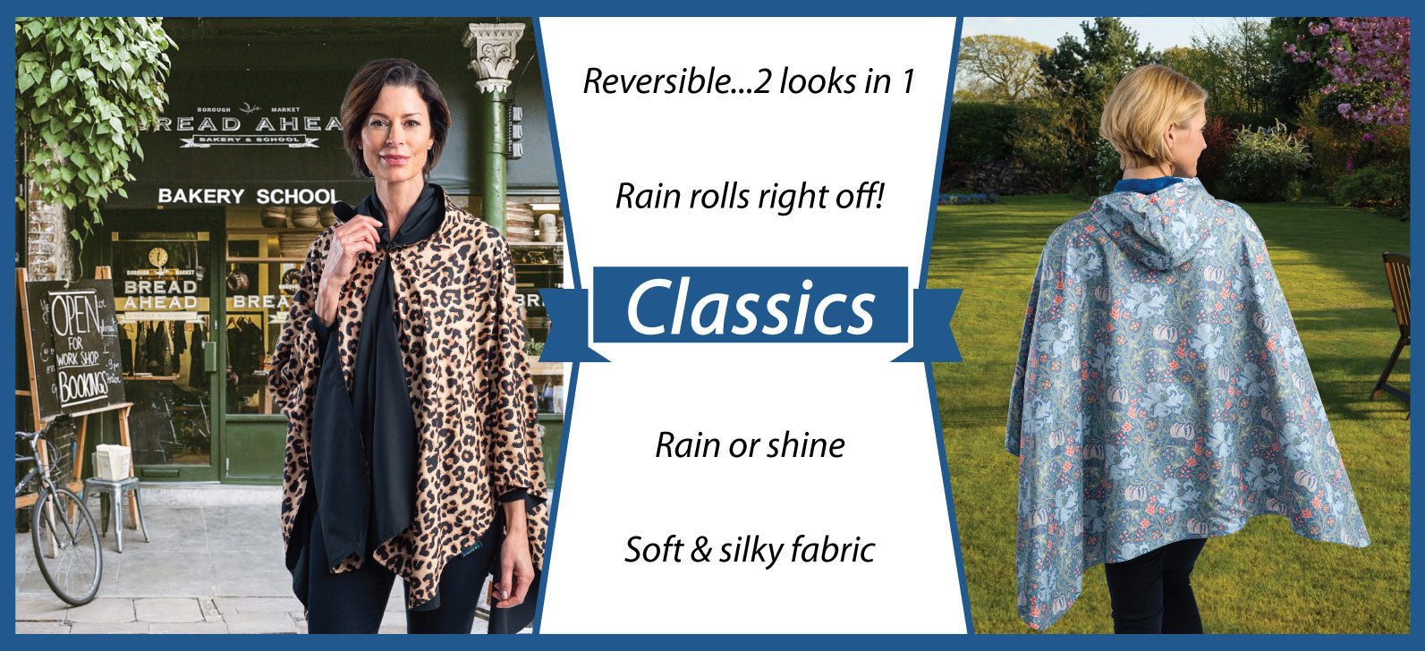 Image of two women wearing reversible rain ponchos. The cute ponchos are hooded rain capes that may be worn rain or shine. The reversible cheetah poncho is black on the other side. The floral print hooded cape is blue on the reverse side.