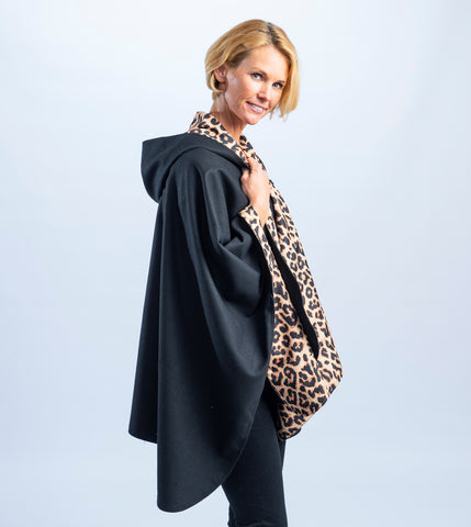 Black & Leopard womens rain coat alternative and packable raincoat