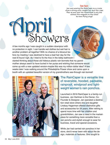 Fifty5+ magazine article telling the story of RainCaper and how it began, showing various images of women wearing cute rain and travel capes
