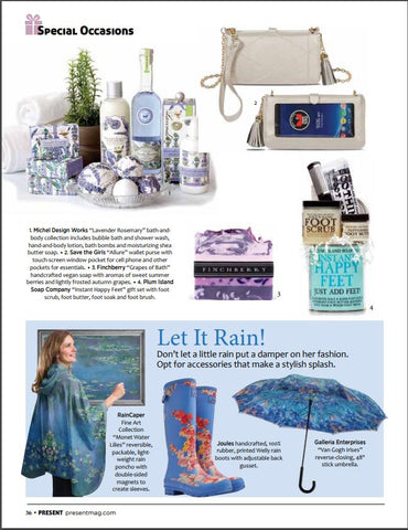 PRESENT magazine mentions RainCaper Monet Water Lilies Travel Cape & Raincoat