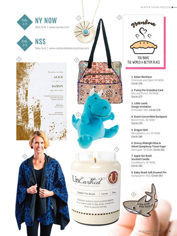 Dressy Midnight Blue/Velvet Swirls RainCaper as seen at NY NOW and in Museums & More magazine