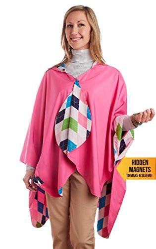 RainCaper Reversible Rain Poncho - Rose/Argyle