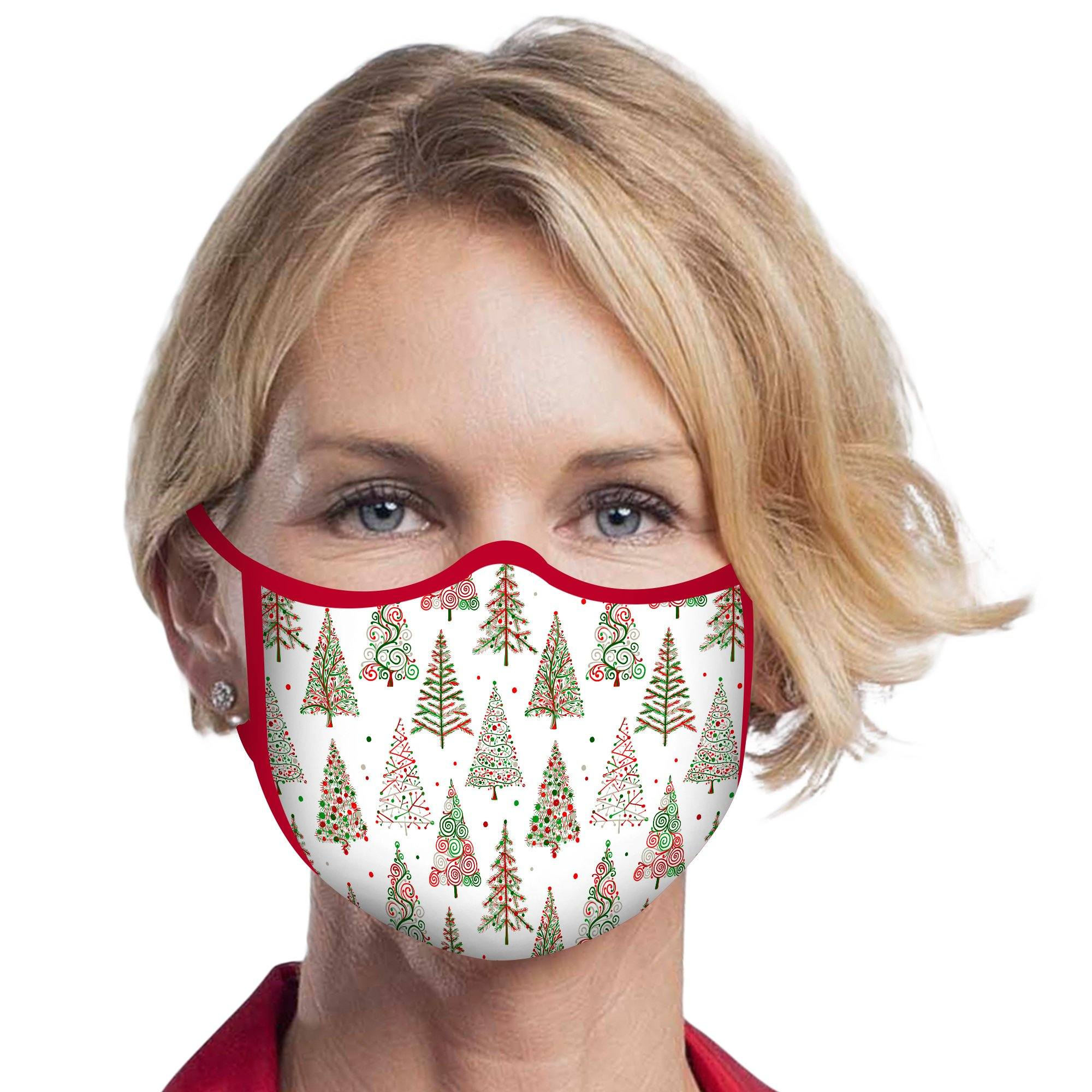Woman wearing a RainCaper Christmas Trees on White Reusable Fabric Face Mask