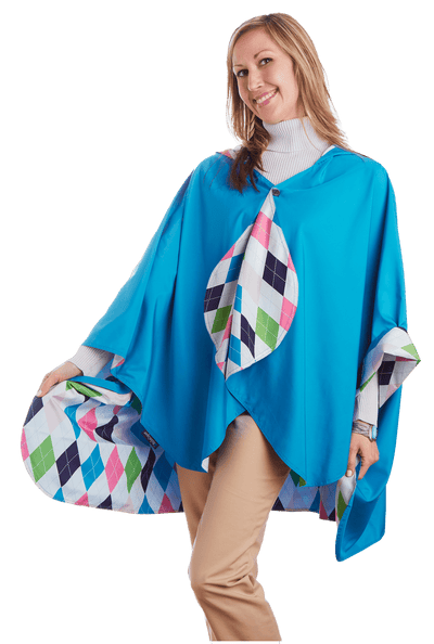 Carribean Blue & Argyle -  $39.99! - hooded waterproof reversible rain cape poncho