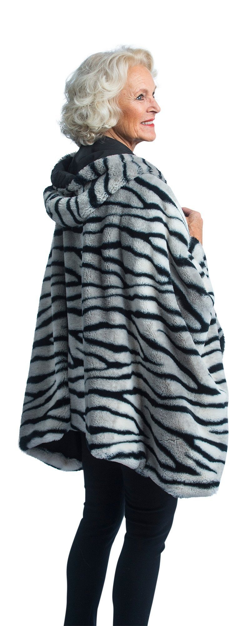 FurCaper Fur-Lined Rain Cape - Arctic Tiger Faux-Fur