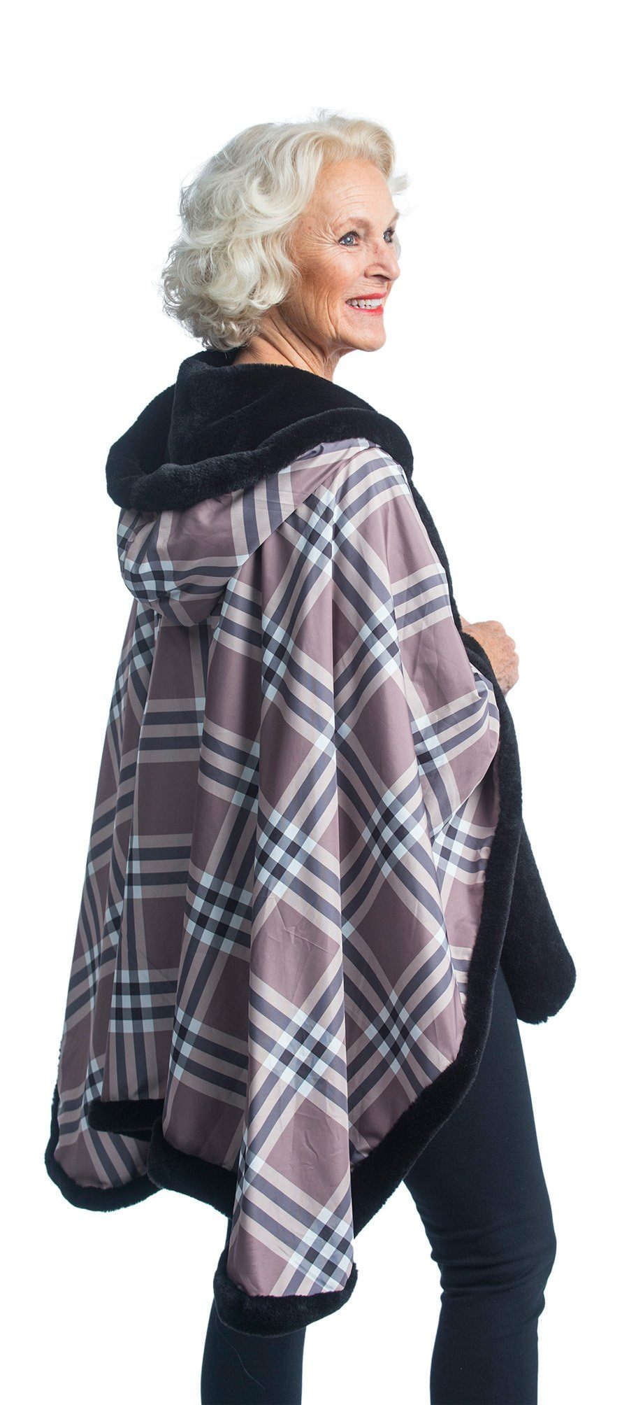 FurCaper Fur-Lined Rain Cape - Black Faux-Fur with Coco Plaid Reverse