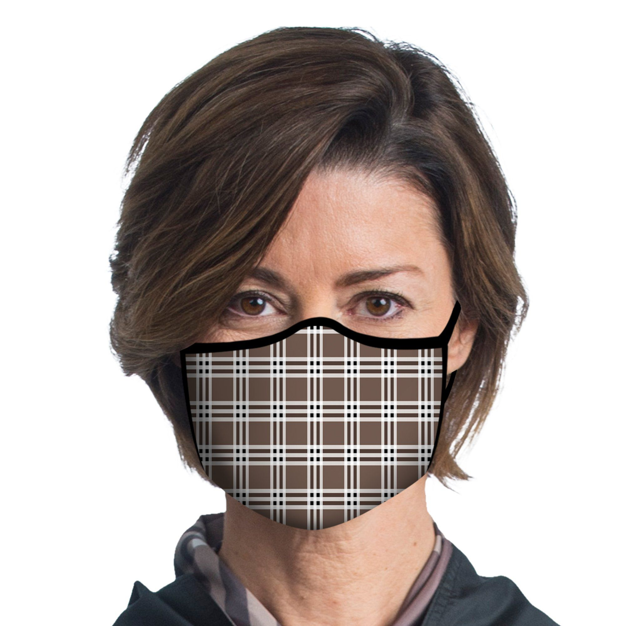 Woman wearing a Coco Plaid Reusable Fabric Face Mask.