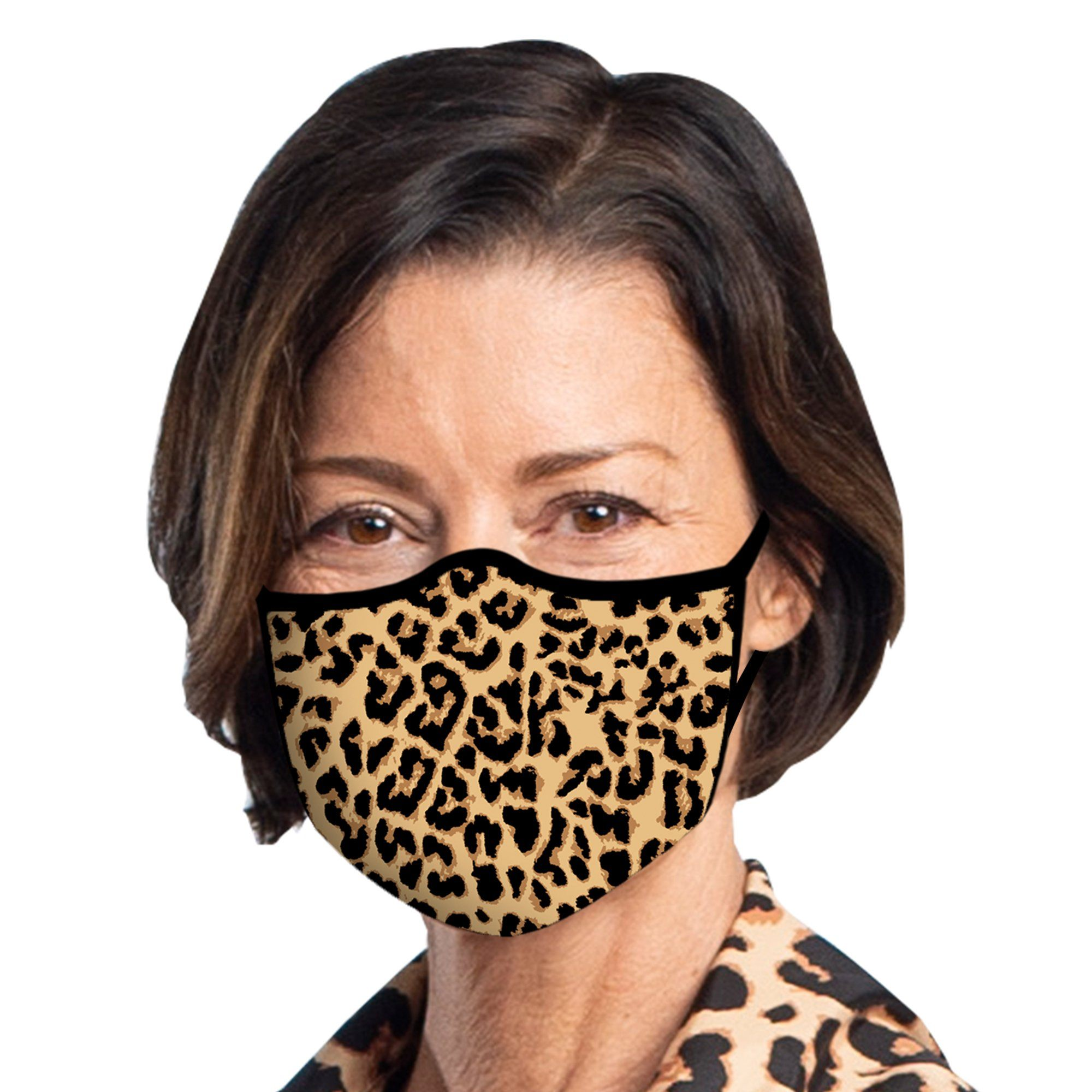 Woman wearing a RainCaper Leopard Reusable Fabric Face Mask.