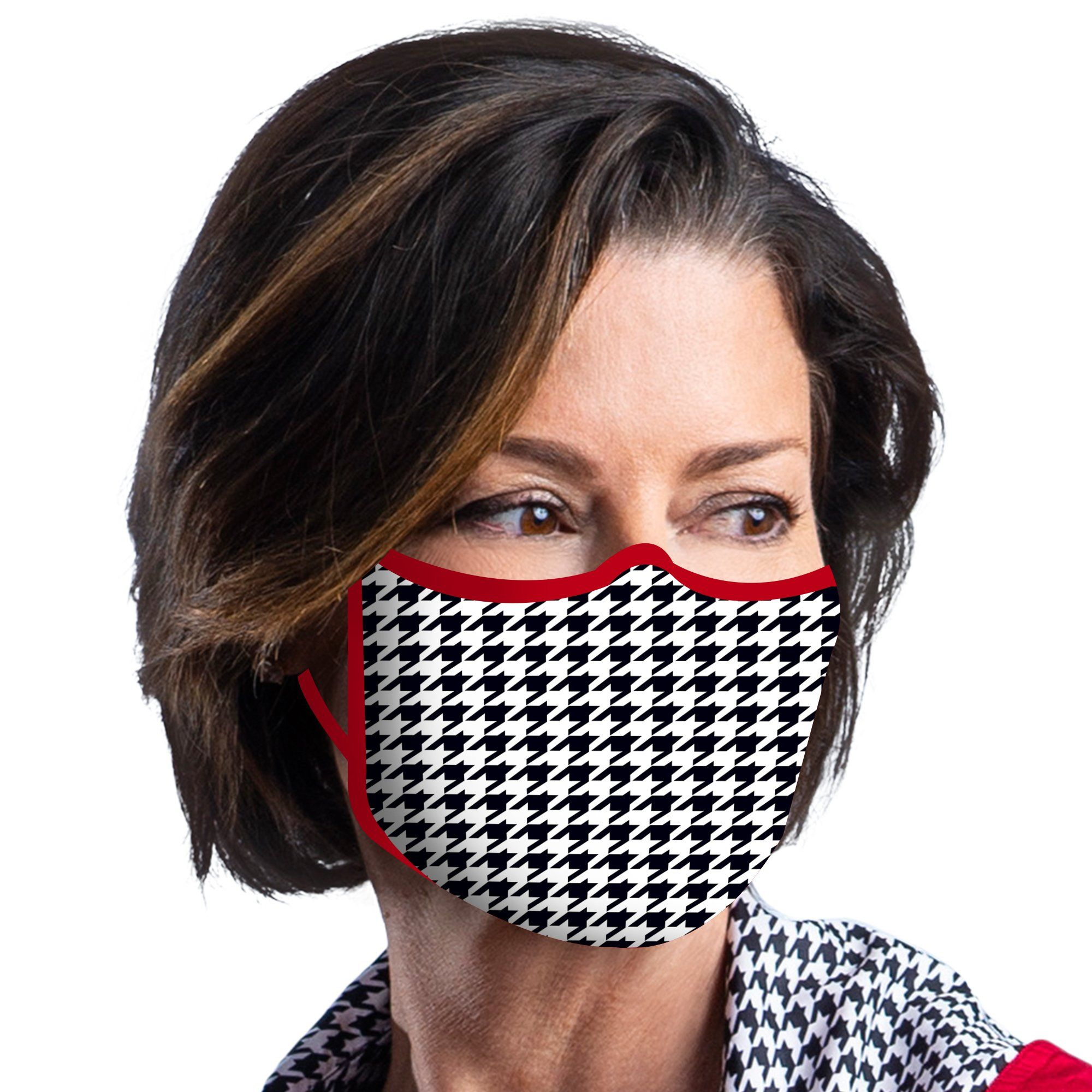 Woman wearing a RainCaper Crimson & Houndstooth Reusable Fabric Face Mask.