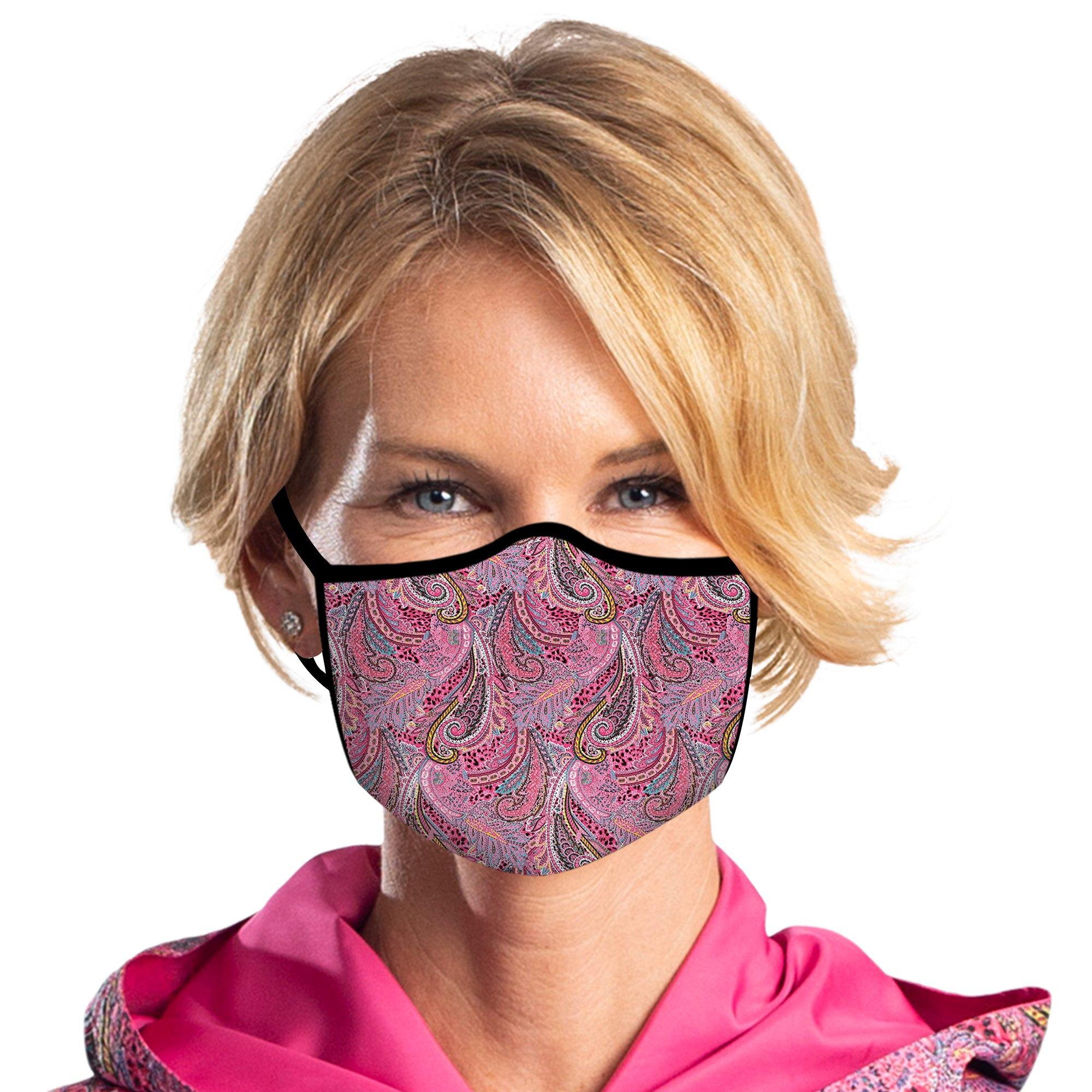 Women wearing a RainCaper Pink Paisley Reusable Fabric Face Mask.