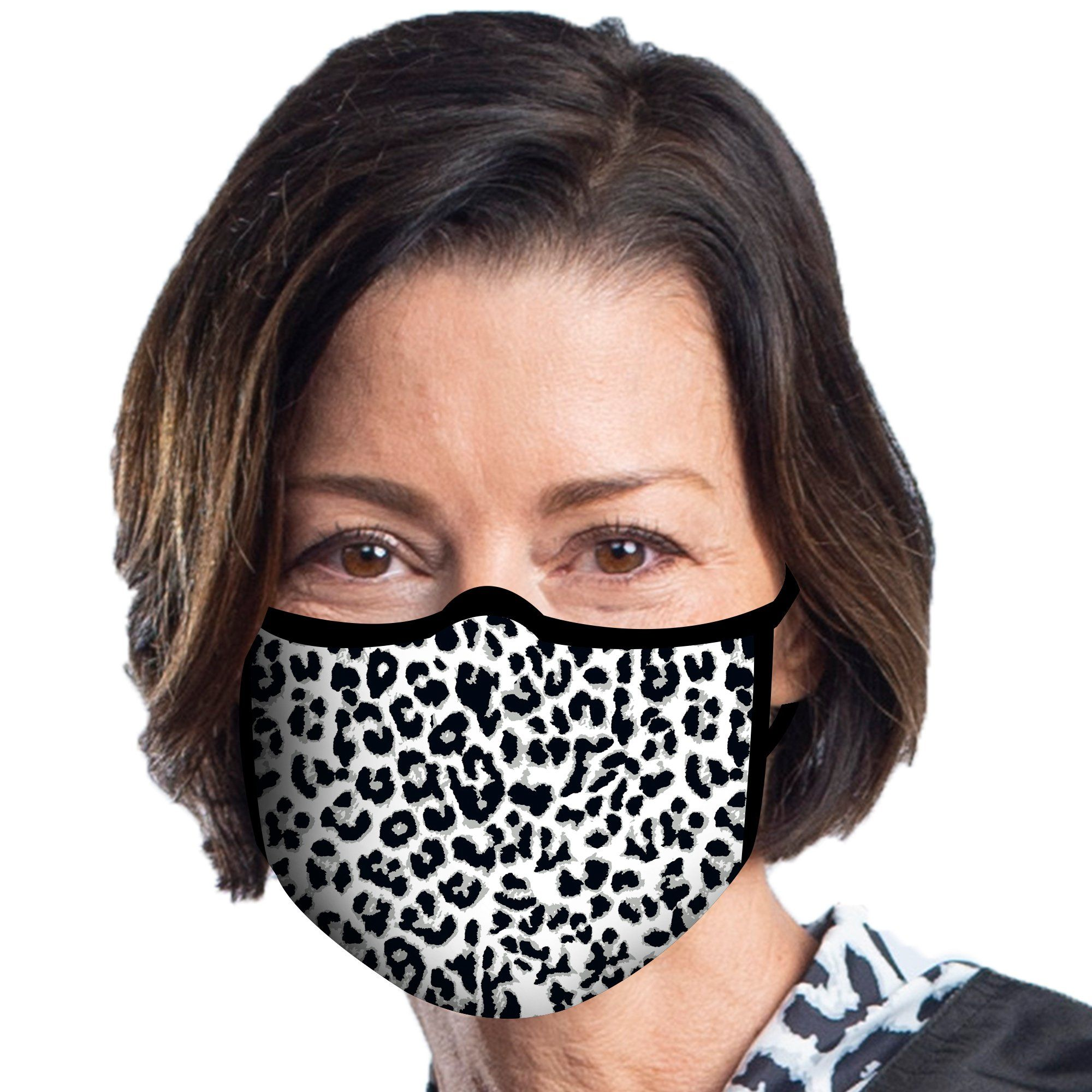 Woman wearing a Black & White Animal Print Reusable Fabric Face Mask.