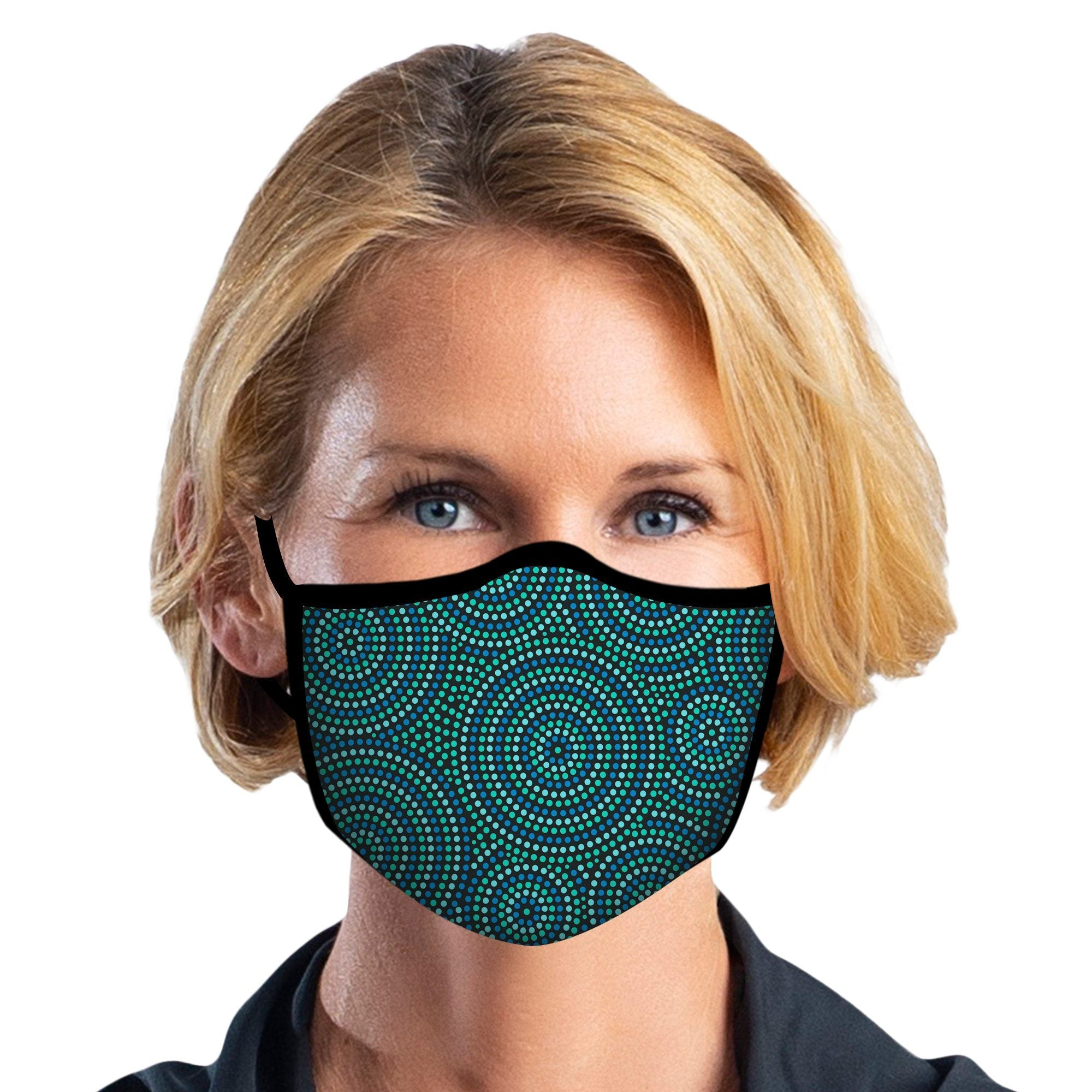 Woman wearing a RainCaper Circle Dots Reusable Fabric Face Mask