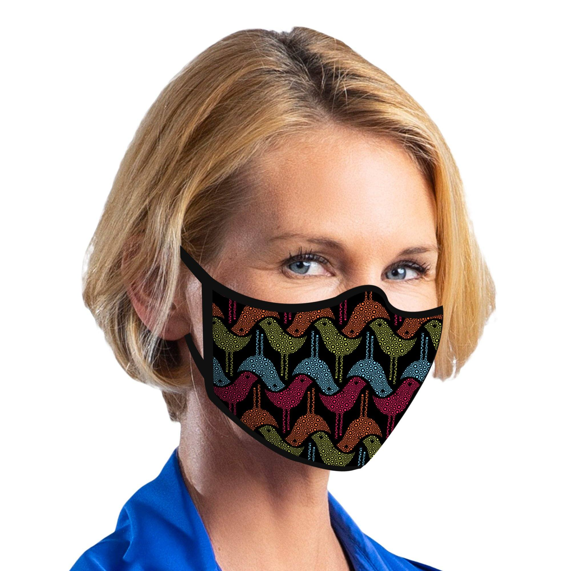 Woman wearing a Birds & Bubbles Reusable Fabric Face Mask.