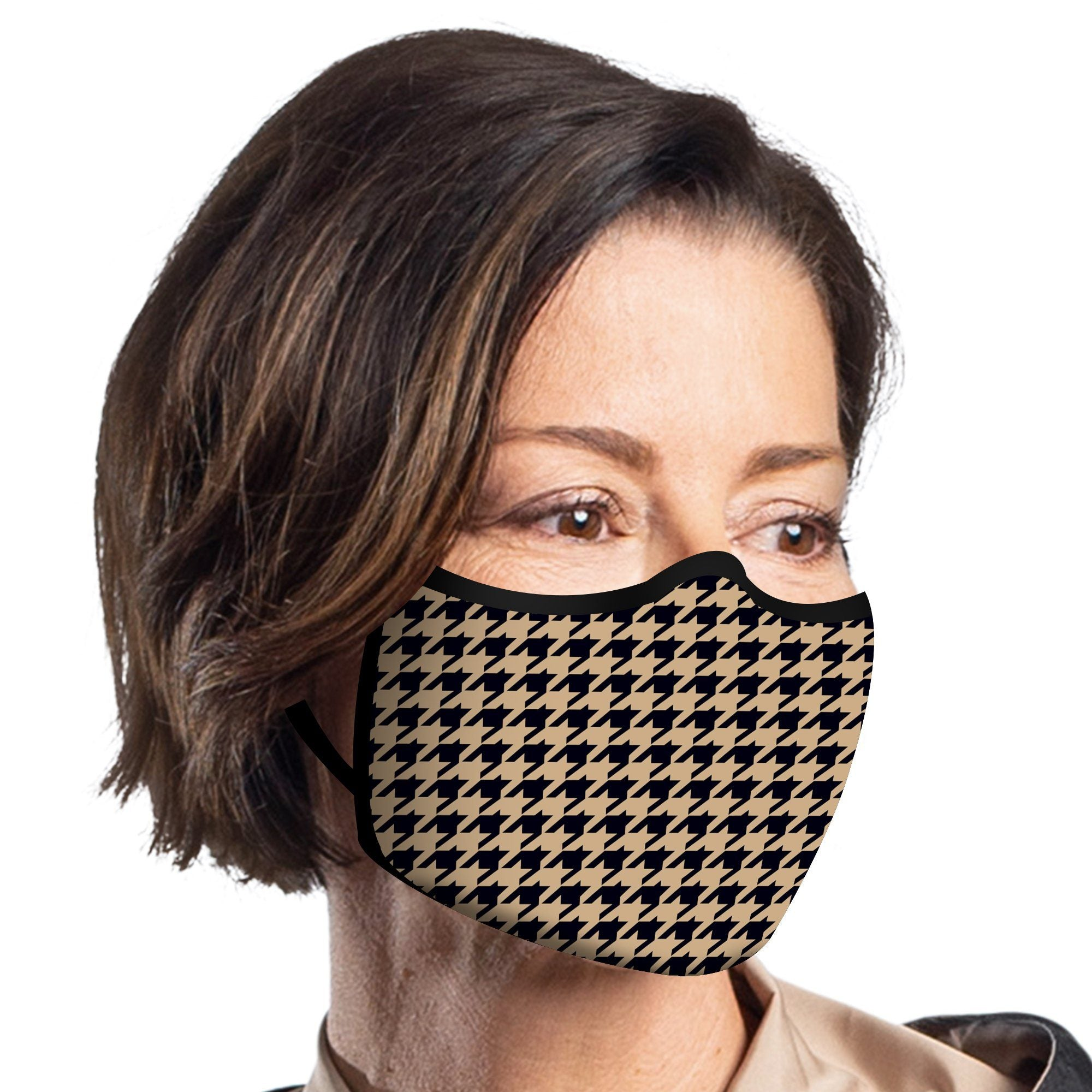 Woman wearing a RainCaper Camel Houndstooth Reusable Fabric Face Mask.