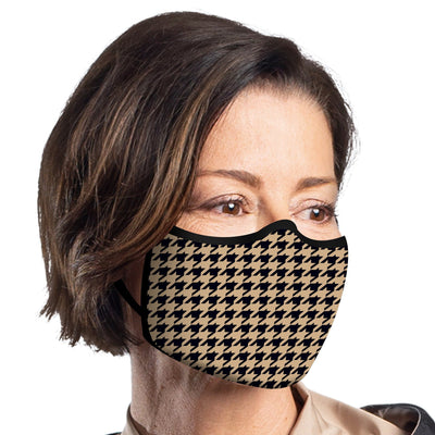 RainCaper Camel Houndstooth Reusable Fabric Face Mask
