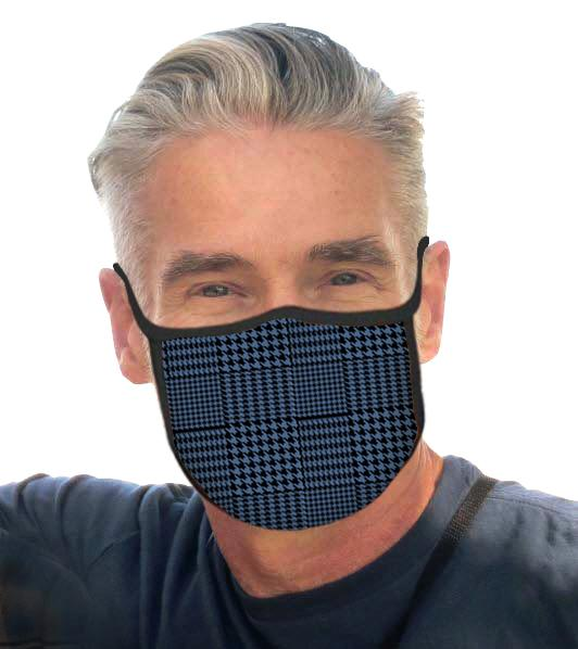 Man wearing a Blue Glen Plaid Reusable Fabric Face Mask.