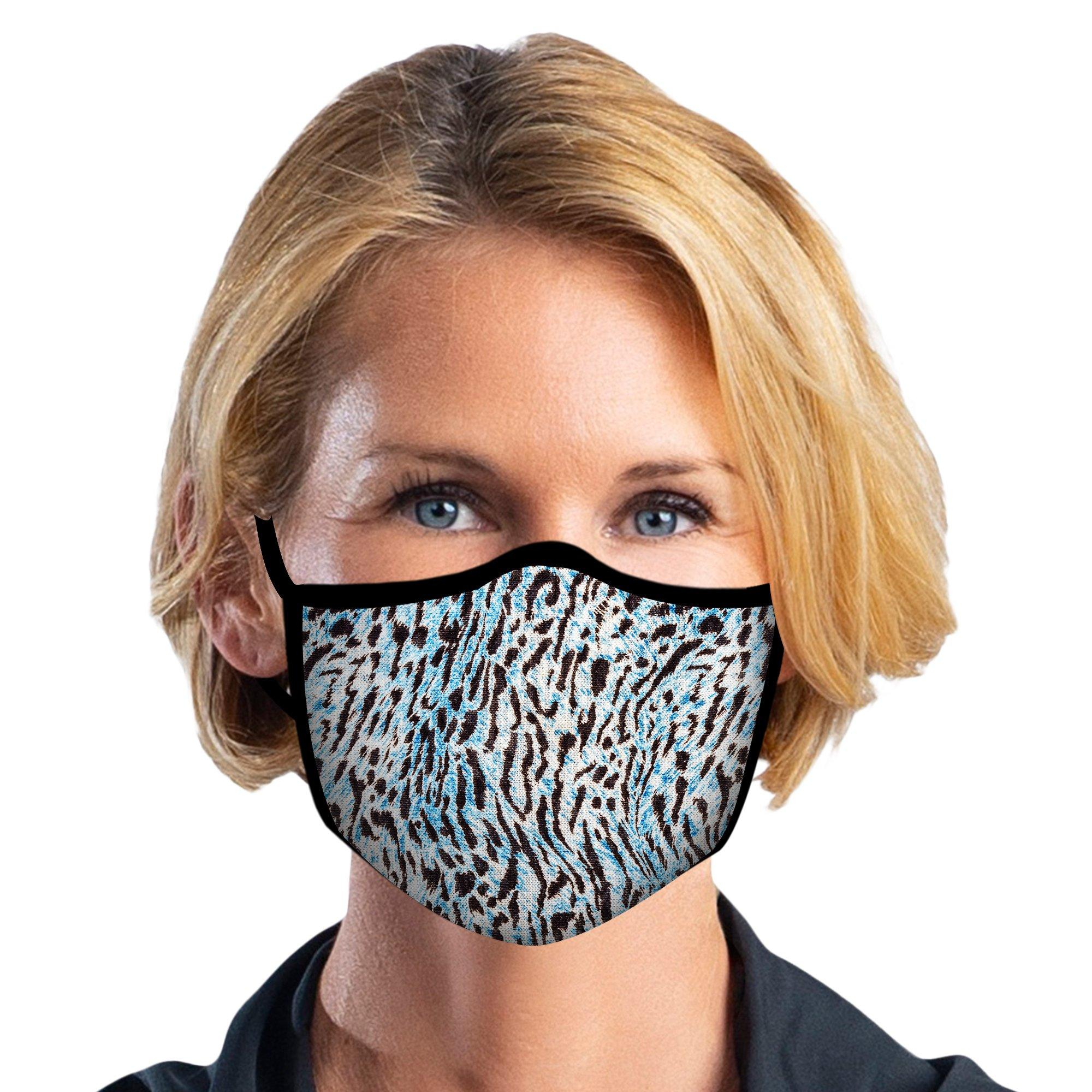 Woman wearing a Blue Animal Print Reusable Fabric Face Mask