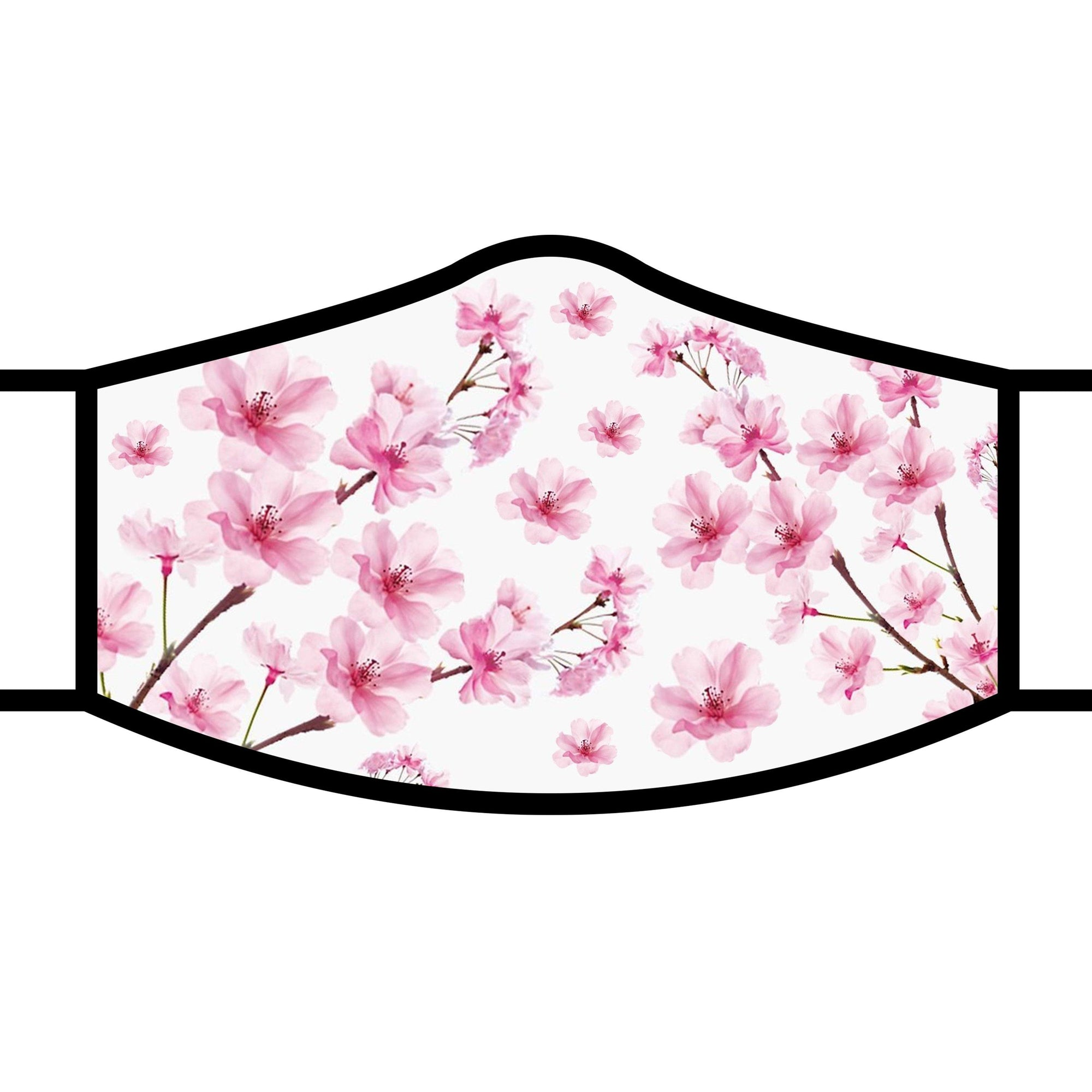 Woman wearing a RainCaper Cherry Blossom Reusable Fabric Face Mask