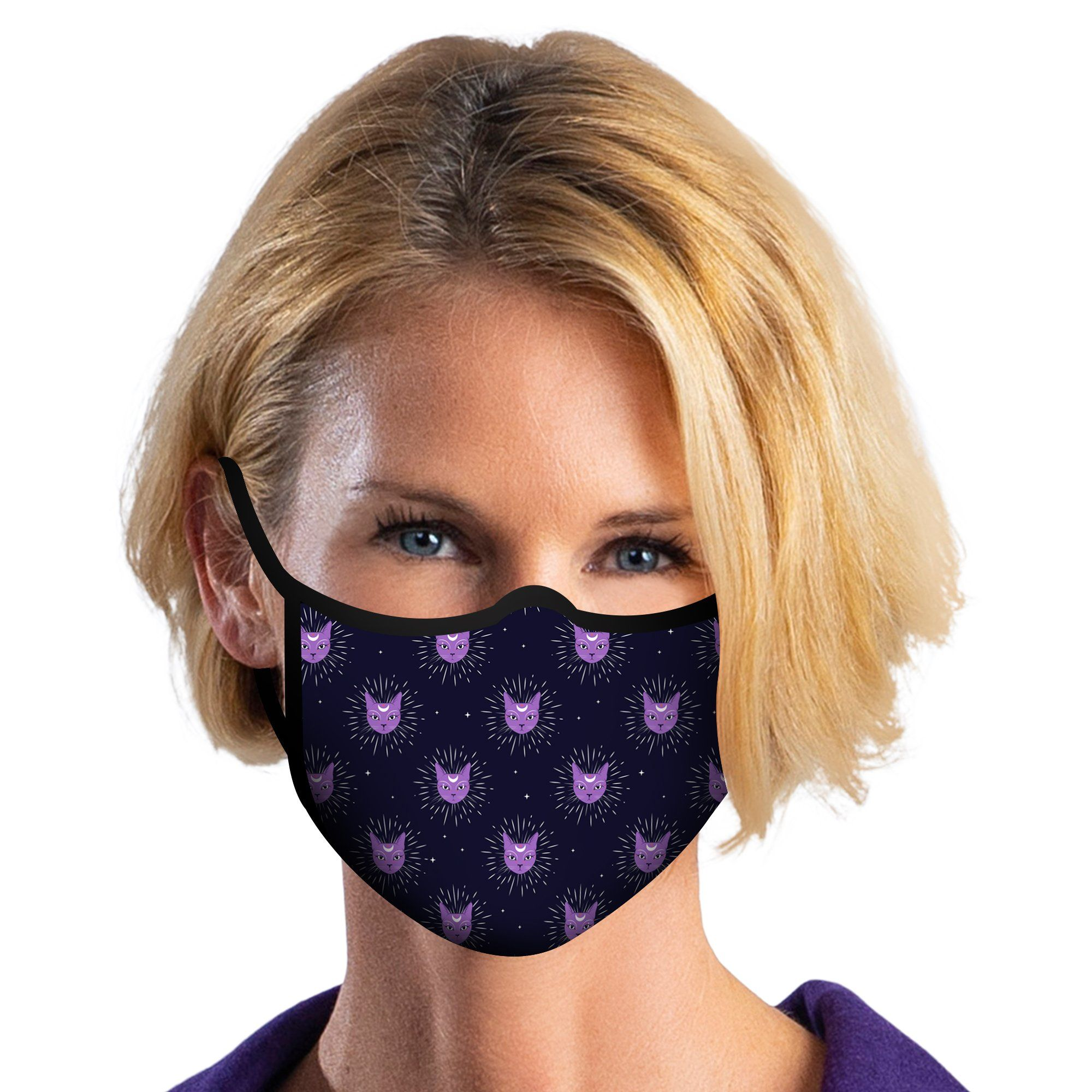 Woman wearing a RainCaper Celestial Cats Reusable Fabric Face Mask