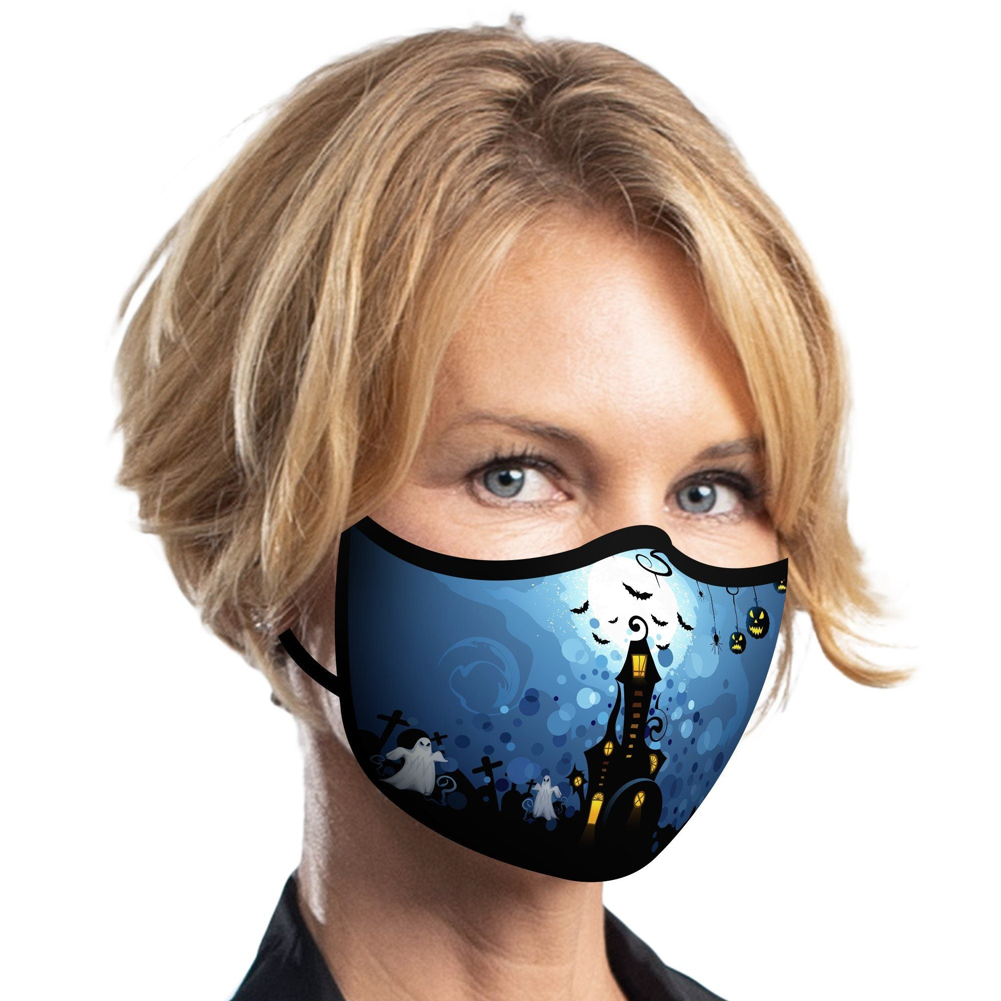 Woman wearing a Haunted House Reusable Fabric Face Mask from RainCaper