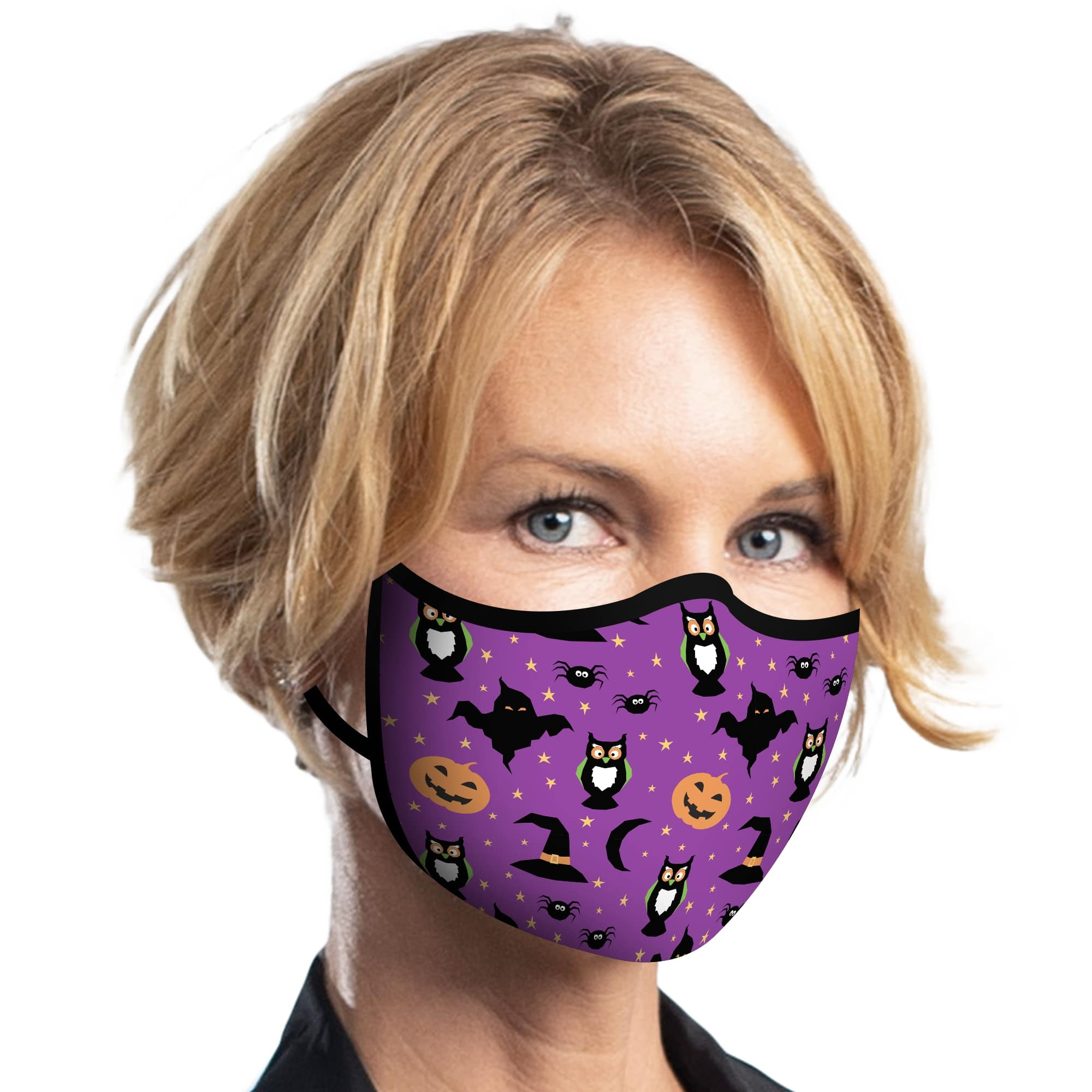 Woman wearing a RainCaper Purple Halloween Reusable Fabric Face Mask.