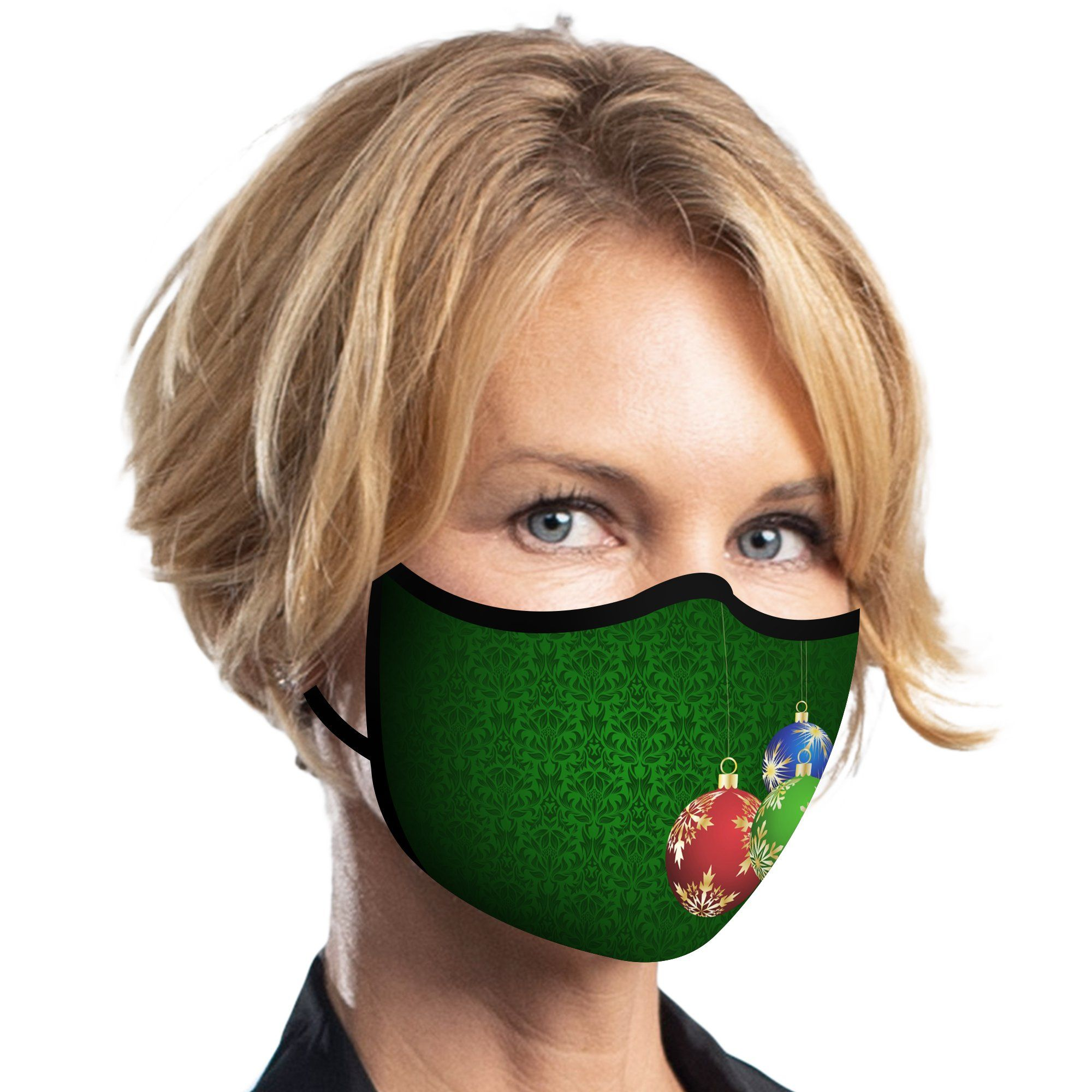 Women wearing a RainCaper Ornaments on Green Reusable Fabric Face Mask.