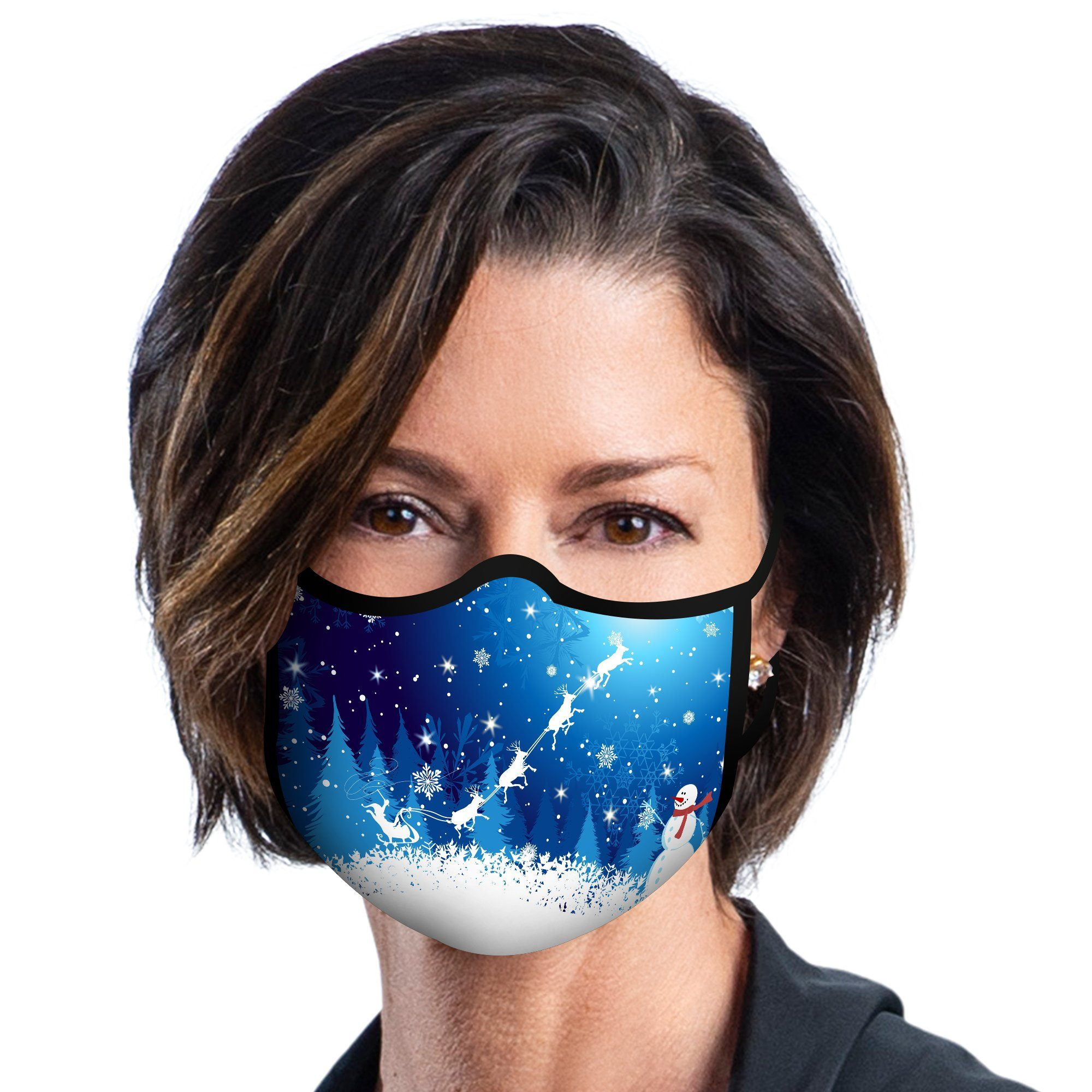 Woman wearing a RainCaper Christmas Snow Scene Reusable Fabric Face Mask