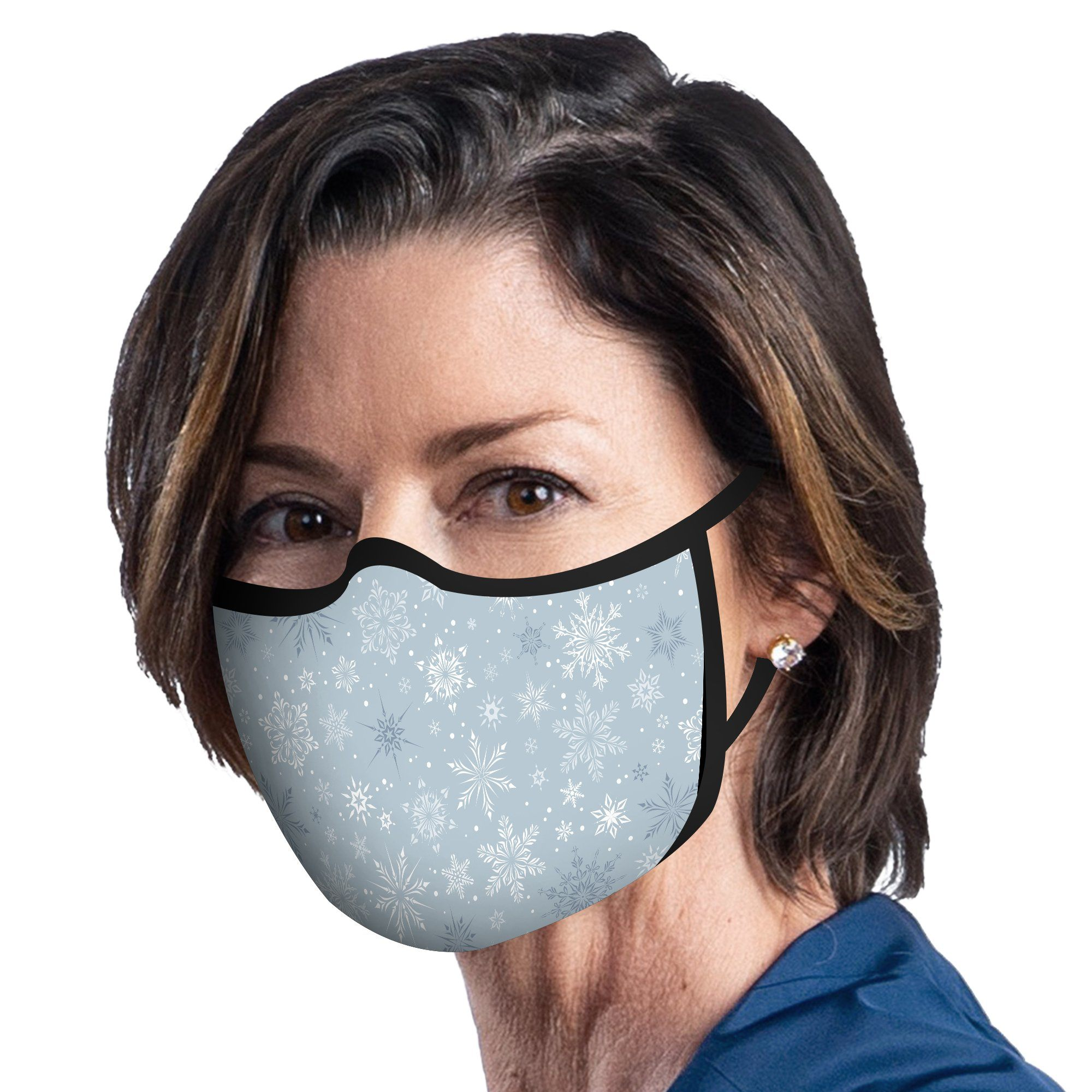 Woman wearing a RainCaper Silver Snowflakes Reusable Fabric Face Mask