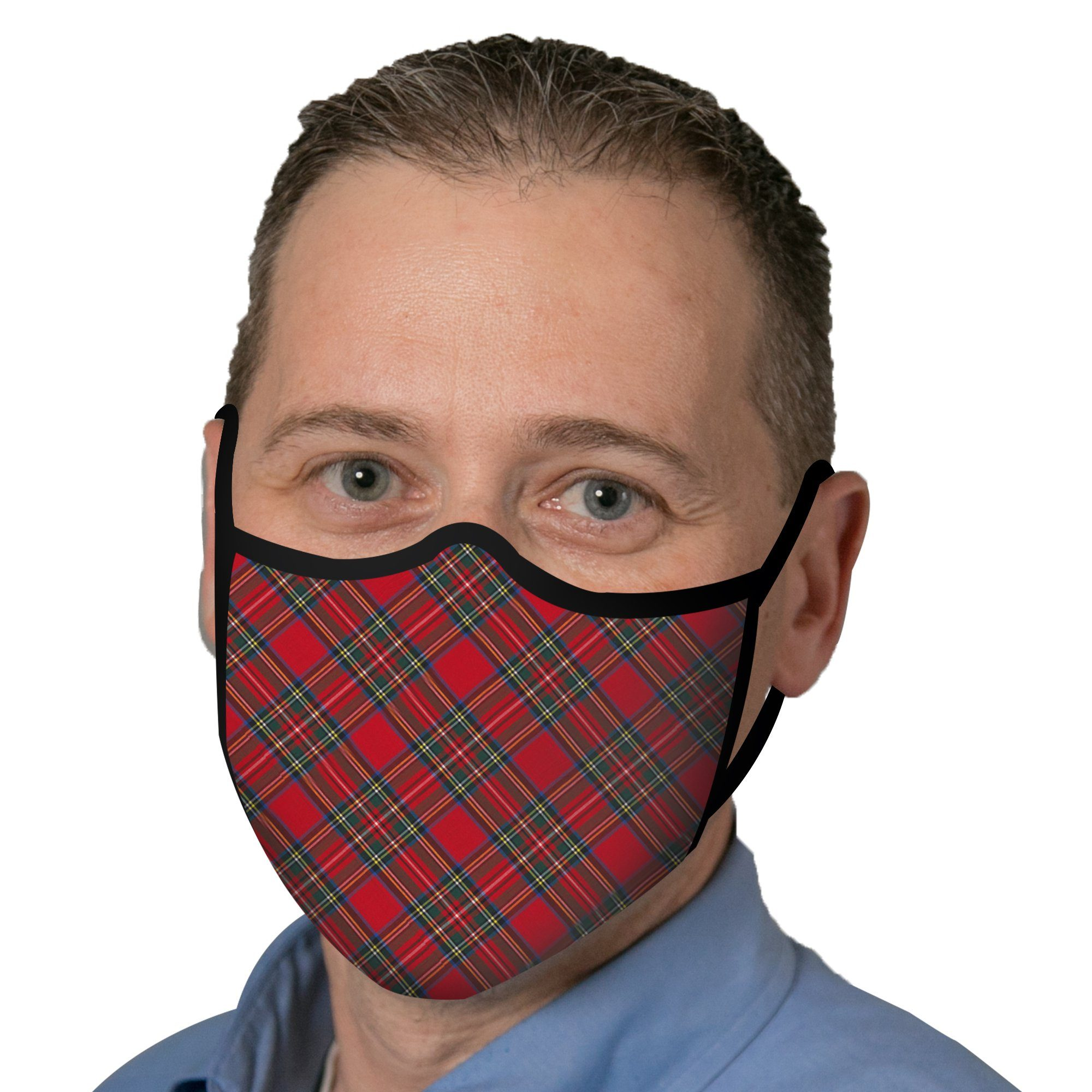 Woman wearing a RainCaper Red Tartan Plaid Reusable Fabric Face Mask