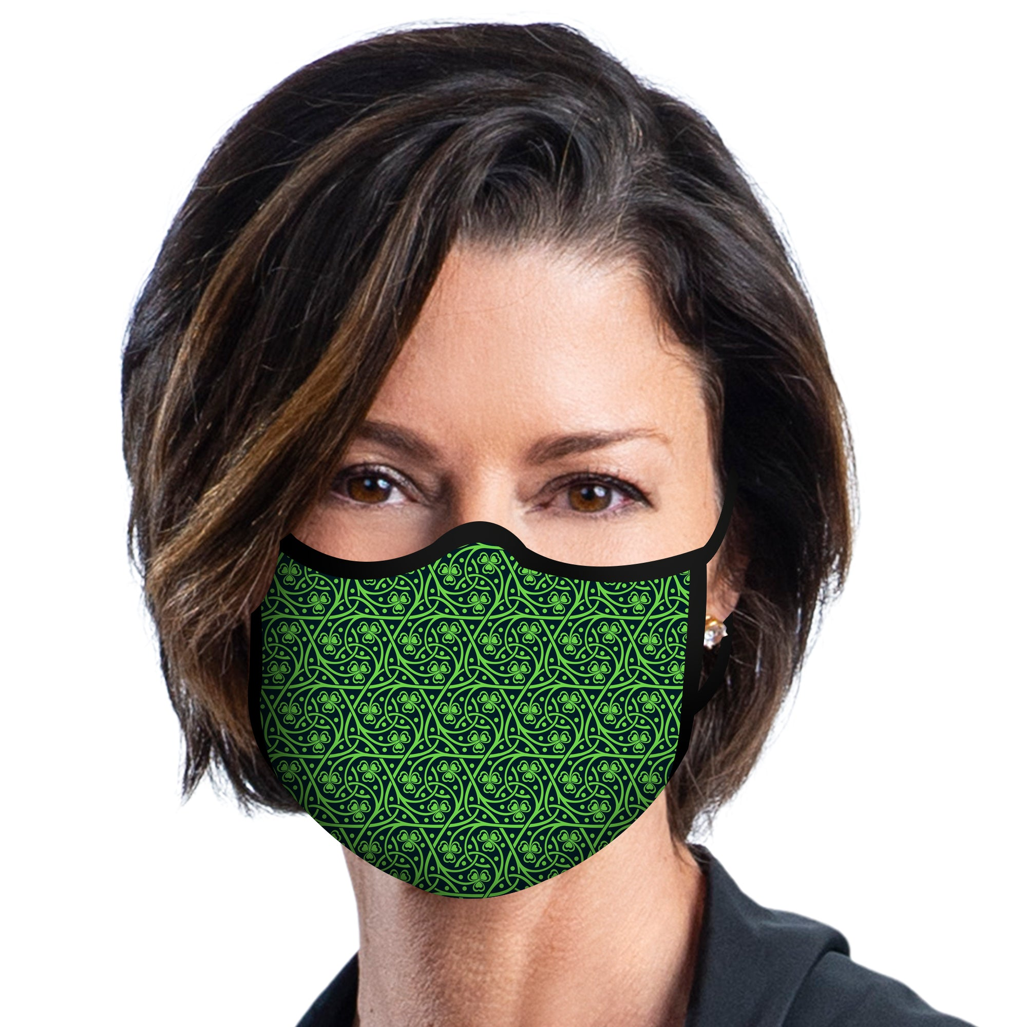 Woman wearing a Celtic Reusable Fabric Face Mask.