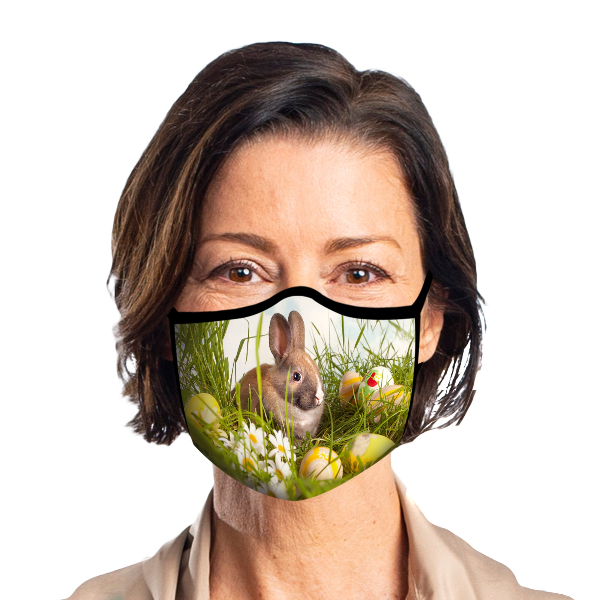 Woman wearing a Bunny & Eggs Reusable Fabric Face Mask.